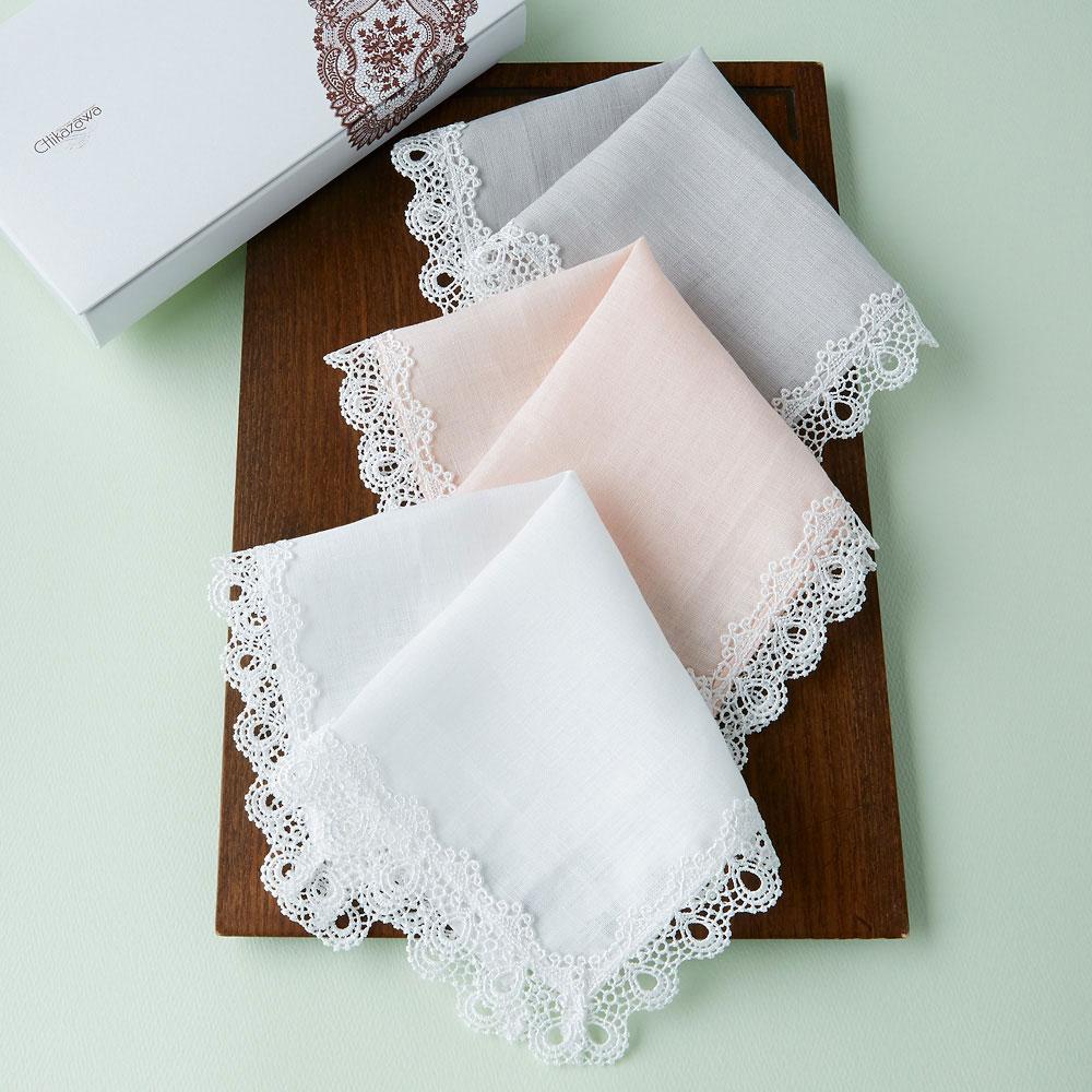 婦人画報のお取り寄せ【婦人画報】ミニヨンレース麻ハンカチ3枚セット(白・ピンク・グレー)