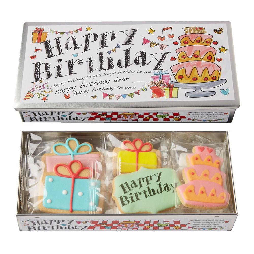 アンファン クッキー&マシュマロ Happy Birthday缶