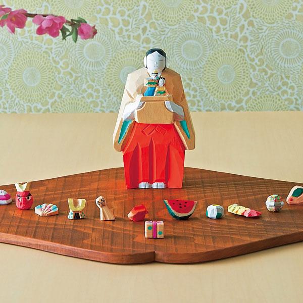 婦人画報のお取り寄せ【婦人画報】奈良一刀彫 月こよみ+鏡富士形しき板